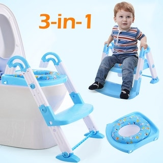 Costway 3 in 1 Baby Potty Training Toilet Chair Seat Step Ladder Trainer Toddler Blue