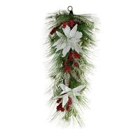 "32"" Mixed Long Needle Pine with Berries and Poinsettia's Artificial Christmas Teardrop Swag - Unlit - green"