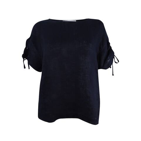 Two by Vince Camuto Women's Lace-Up Sleeve Linen Top (XS, Rich Black) - Rich Black - XS