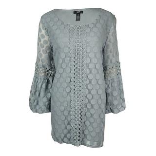 Alfani Women's Lace Dot Crochet Trim Peasant Blouse