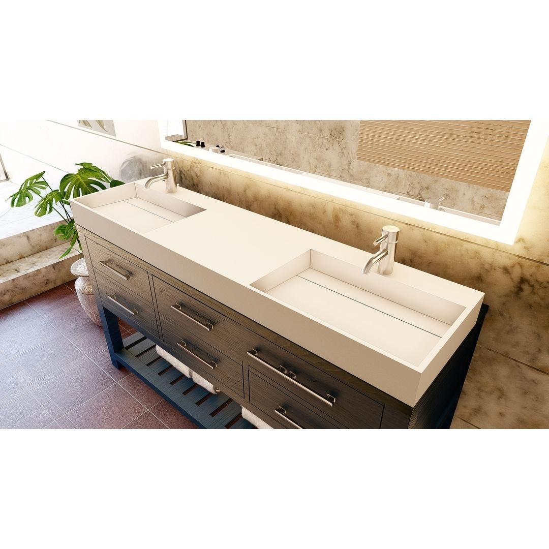 Juniper 72 Solid Surface Bathroom Vanity Top Overstock 32133941 Grey