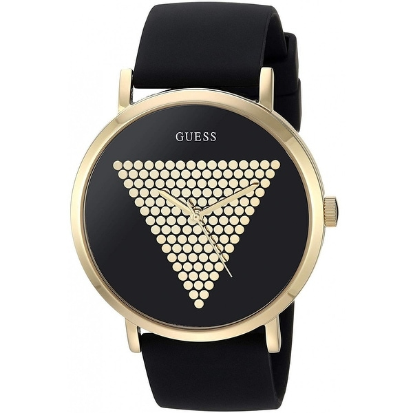 Guess Men's W1161G1 Imprint Gold-Tone Watch With Black Silicone Strap - 1 Size. Opens flyout.