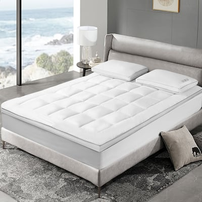 SCOTT LIVING 3-inch White Down Fiber Top Featherbed