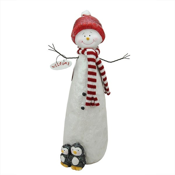 """17.25"""" Decorative Glitter Snowman with Penquins Christmas Table Top Decoration"""