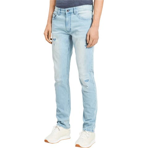 Calvin Klein Mens Straight Slim Fit Jeans, blue, 33W x 34L