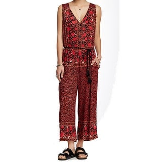 Free People NEW Red Women's Size Large L Floral Print V-Neck Jumpsuit