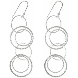 Sterling Silver Round Link Hoop Long Dangle Earrings