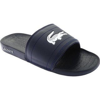 Lacoste Men's Frasier Slide Sandal Navy/White Synthetic