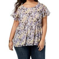Lucky Brand Purple Women's Size 2X Plus Floral Peplum Sheer Blouse
