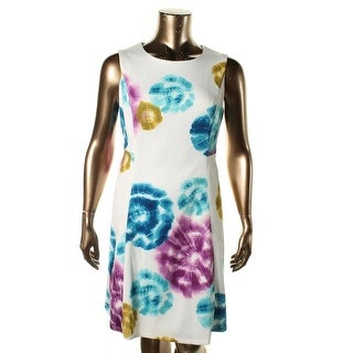 Calvin Klein Womens Plus Printed Sleeveless Wear to Work Dress