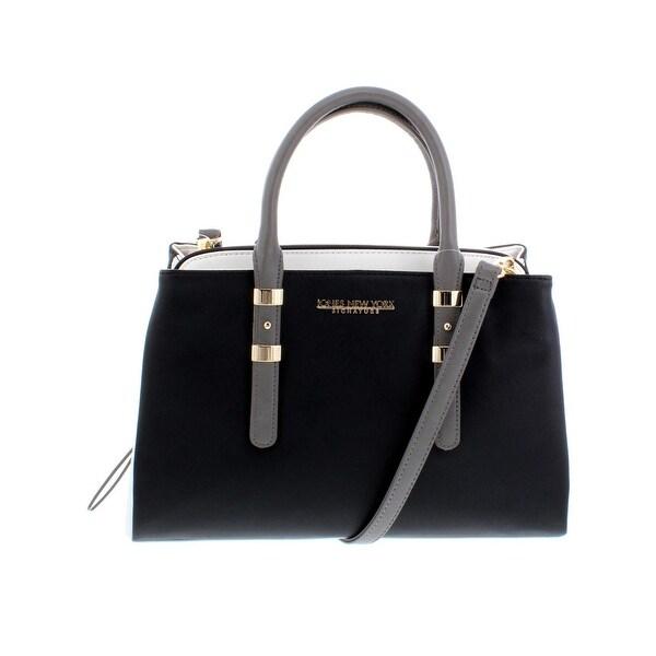 44375e54271 Jones New York Womens Zara Satchel Handbag Faux Leather Logo - Medium