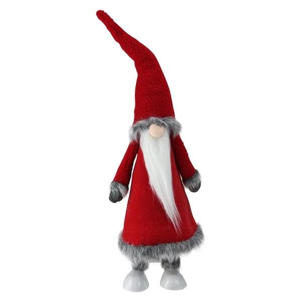 "22"" Bobbling Red Christmas Santa Gnome with Metal Spring Frame - WHITE"