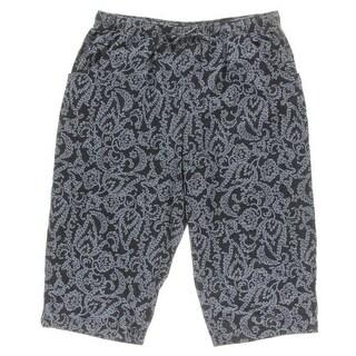 Karen Scott Womens Capri Pants Printed Comfort Waist