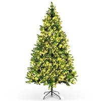 BELLEZE 7.5ft Premium 550 Lights Pre-lit Artificial Christmas Tree Hinged Spruce with Stand, Green