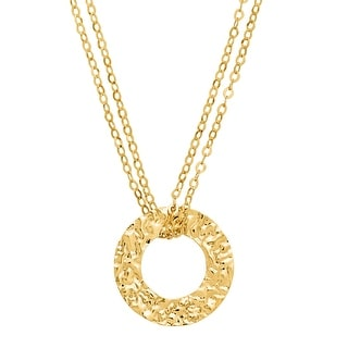 Just Gold Hammered Circle Pendant Necklace in 14K Gold - Yellow