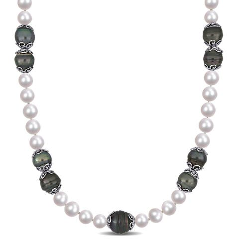 Miadora Sterling Silver Cultured FW & Tahitian Pearl with Cubic Zirconia Station Necklace (9-14 mm) - 18 inch x 14 mm x 14 mm