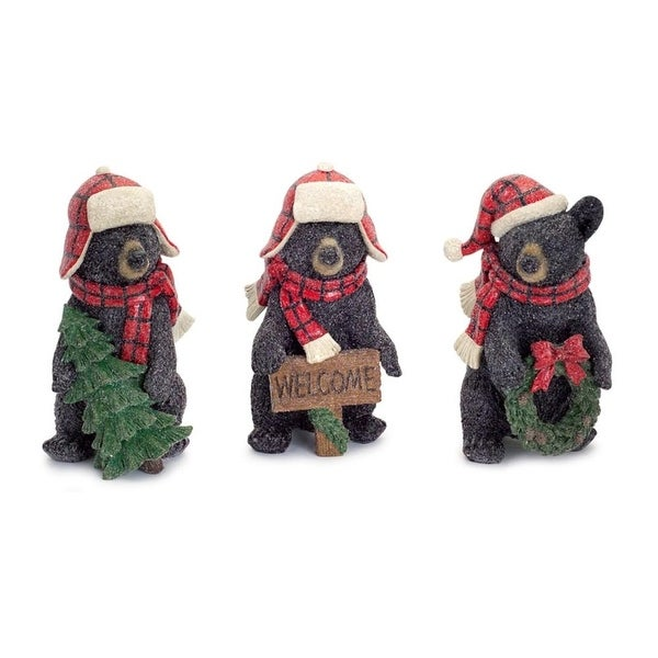 Set of 3 Winter Time Cozy Dressed Black Bear Cousins with Red Plaid Scarves 8.75""