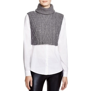 Bailey 44 Womens Blouse Cable Knit Turtleneck - m