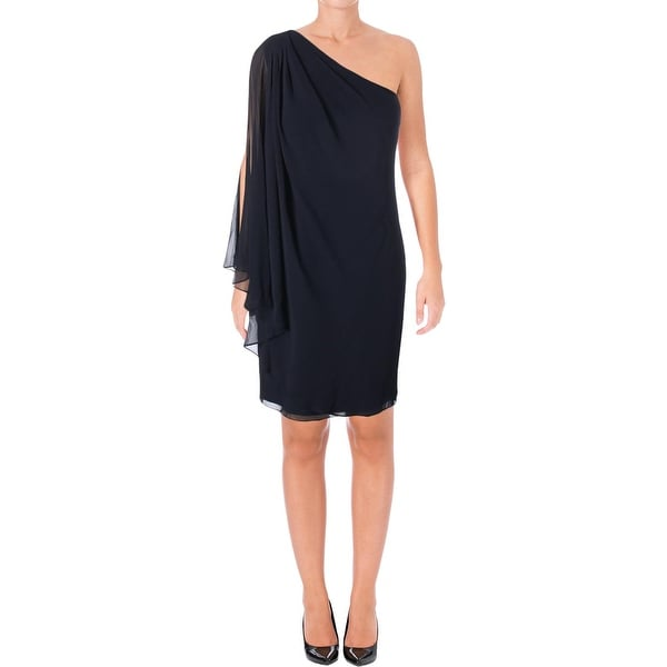 Lauren Ralph Lauren Womens Yesse Cocktail Dress One Shoulder Georgette