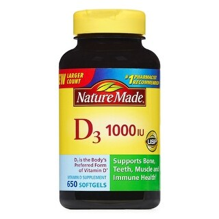 Nature Made Vitamin D3 1000 IU 25 mcg Supports Bone, Teeth, Muscle and Immune Health 650 Softgels Dietary Supplement - YELLOW