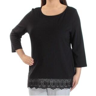 Womens Black 3/4 Sleeve Jewel Neck Top Size XL
