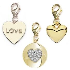 Julieta Jewelry Heart Disc, Love Heart, Heart 14k Gold Over Sterling Silver Clip-On Charm Set