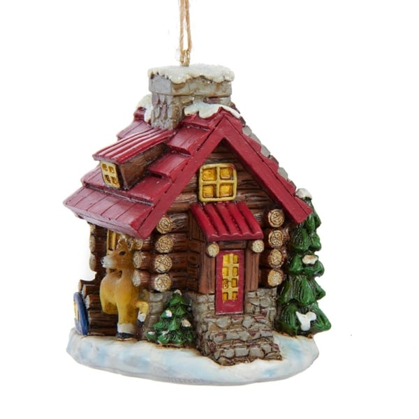 """3"""" Multi-Colored Decorative Log Cabin with Deer Christmas Ornament"""