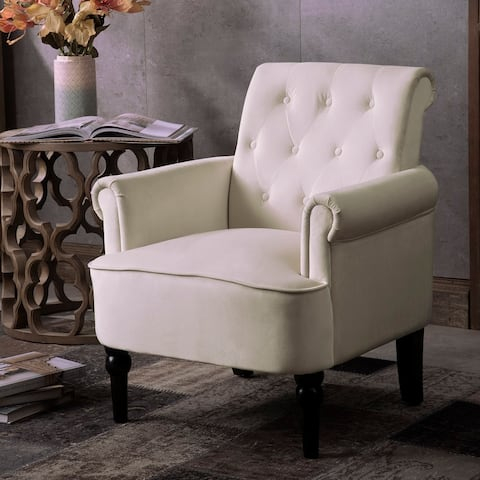 Elegant Button Tufted Club Chair Accent Armchairs Roll Arm Living Room Cushion with Wooden Legs