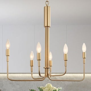 "Link to Gold Swag 6-Light Chandelier Hanging Ceiling Pendant Lighting - L 24.5""x W 13.5""x H 22"" Similar Items in Chandeliers"