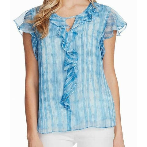 Vince Camuto Womens Blouse Deep Blue Size Small S Ruffled Keyhole