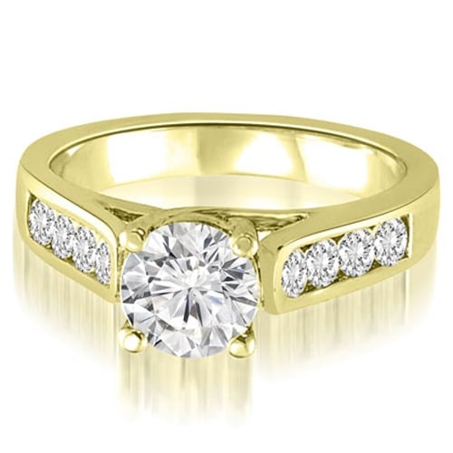 1.10 cttw. 14K Yellow Gold Trellis Cathedral Round Cut Diamond Engagement Ring