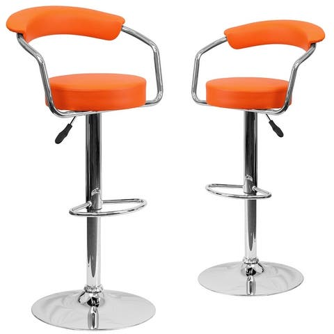 "2 Pack Contemporary Vinyl Adjustable Height Barstool with Arms and Chrome Base - 19.5""W x 19.5""D x 34"" - 42.25""H"