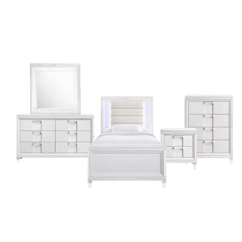 Picket House Furnishings Charlotte Youth Twin Platform 5PC Bedroom Set in White