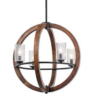 21 Inch Distressed Wood 4 Light Orb Chandelier With Gl