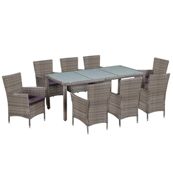 vidaXL Outdoor Dining Set 17 Pieces Poly Rattan Wicker Garden Patio Furniture. Opens flyout.
