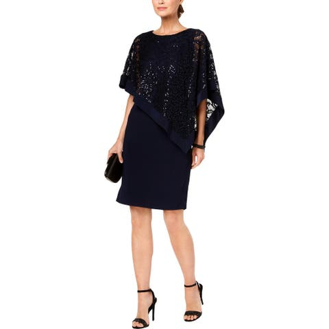 R&M Richards Womens Party Dress Sequined Lace - Navy
