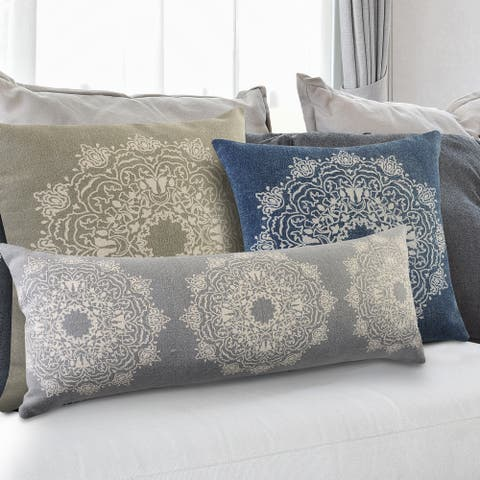 Intricate Medallion Twine and Cream Throw Pillow