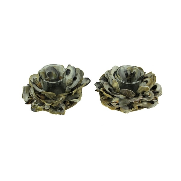 Natural Oyster Shell and Glass Tealight Candle Holder Set of 2 - 3 X 6 X 6 inches