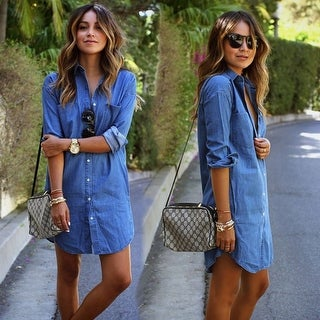 Autumn Fashion Women Blue Denim Dress Casual Loose Long Sleeved T shirt Dresses Straight Dress Plus Size