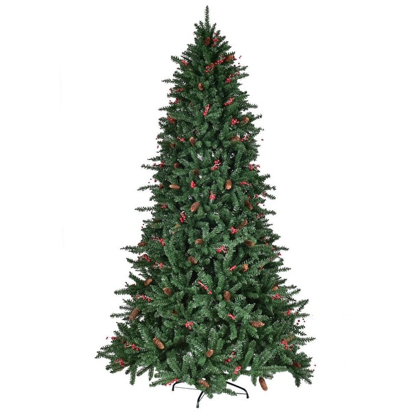 Costway 7FT Artificial PVC Christmas Tree 1918 Tips Green w/Pine Cones & Red Berries
