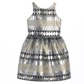 Sweet Kids Girls Silver Metallic Jacquard Sleeveless Christmas Dress 7-16