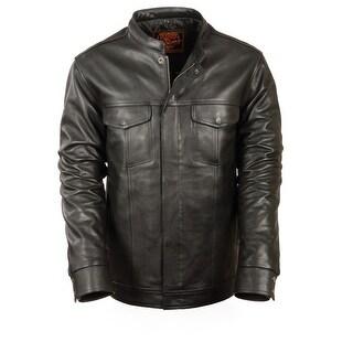 Mens Lightweight Leather Jacket/Shirt W/Hidden Zip And Snaps