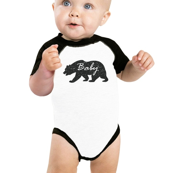 Baby Bear Cute Baby Baseball Bodysuit Black Sleeve Cotton Baby Raglan