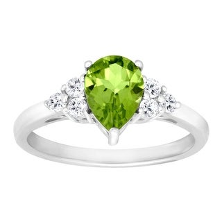 1 1/2 ct Natural Peridot & White Topaz Ring in Sterling Silver - Green