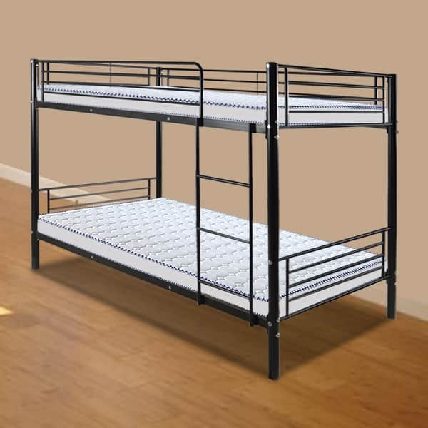 Shop Baby Toddler Iron Bed Bunk Bed With Ladder For Kids Twin Size Black On Sale Overstock 31930901