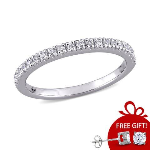 Miadora 1/5ct DEW Moissanite Stackable Anniversary Wedding Band in 10k White Gold