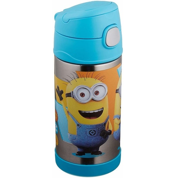 Thermos Funtainer Steel Water Bottle with Straw (12 oz, Minions)