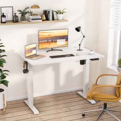 Futzca Height Adjustable Electric Standing Desk Sit Stand Computer Stand up Desk with Splice Board(White)