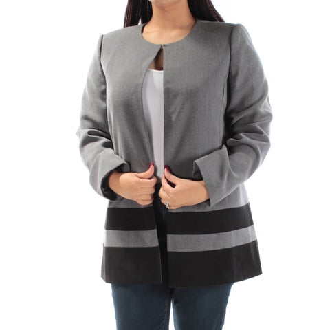 TAHARI Womens Gray Suit Wear To Work Jacket Size: 12