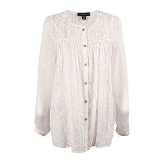 Karen Kane Women's Lace Inset Embroidered Top - Off-white - m